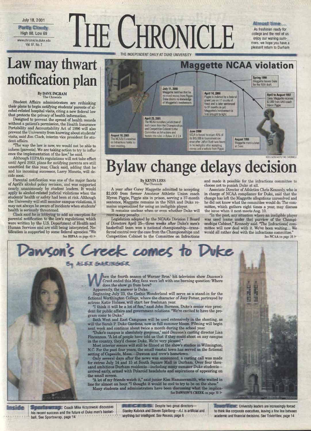 July 18 2001 By Duke Chronicle Print Archives