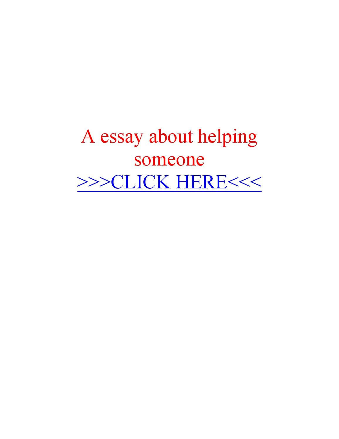 Essay on helping someone