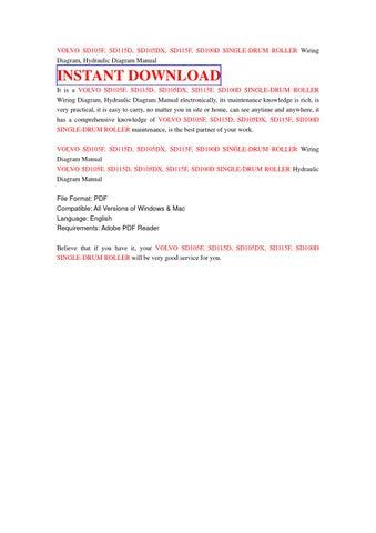 volvo sd105f sd115d sd105dx sd115f sd100d single drum roller volvo sd105f sd115d sd105dx sd115f sd100d single drum roller wiring diagram hydraulic diagram manual