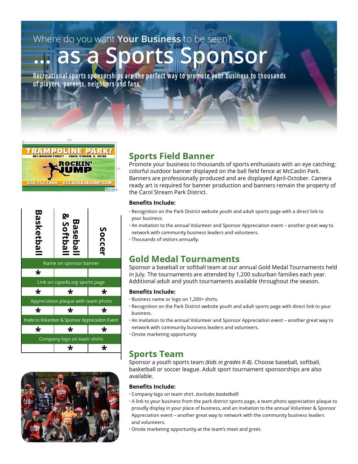 sponsorship kit carol stream park district by carol stream park