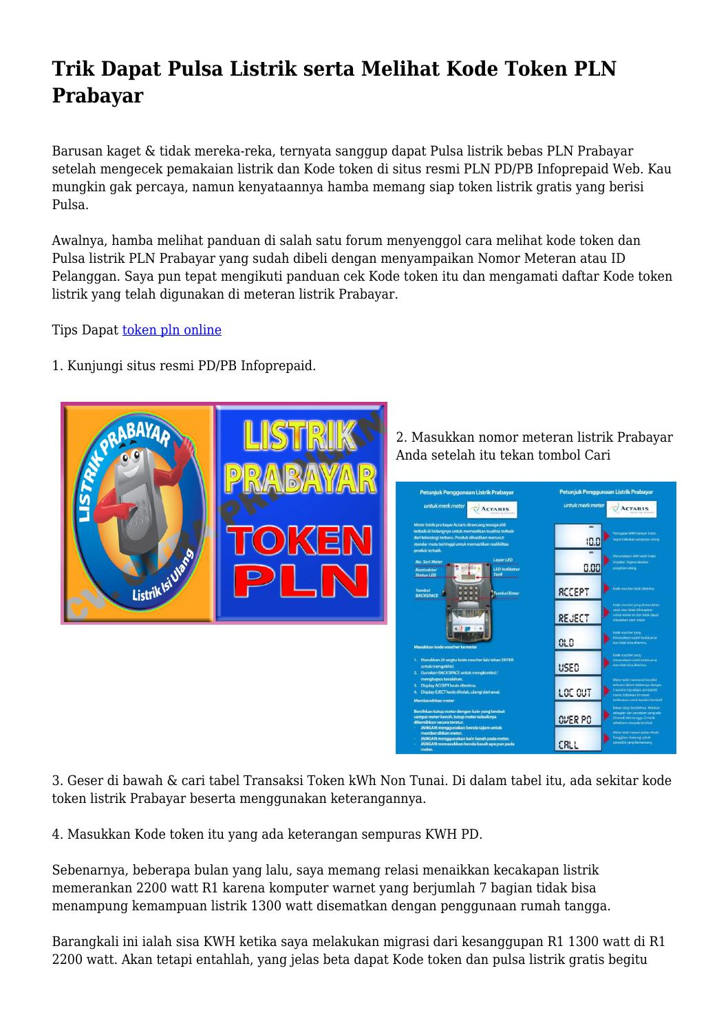 Trik Dapat Pulsa Listrik serta Melihat Kode Token PLN ...
