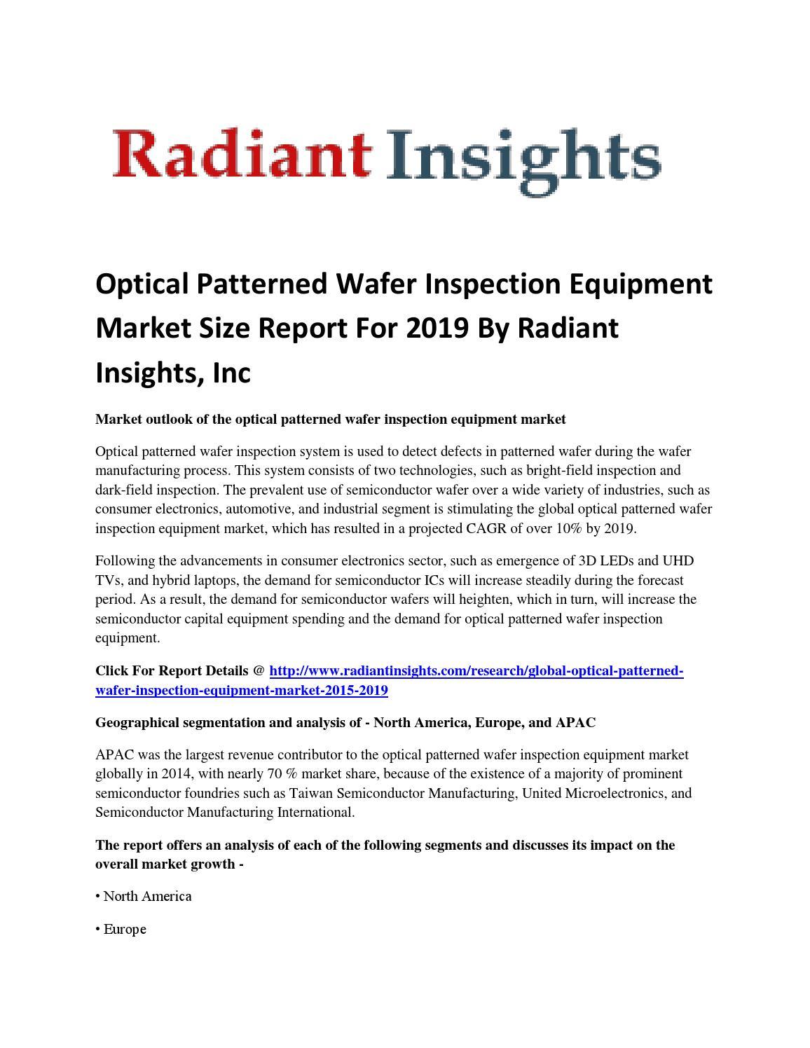 Market Study Optical Patterned Wafer Inspection