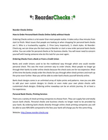 Reorder checks org by kelleyroger87 - issuu