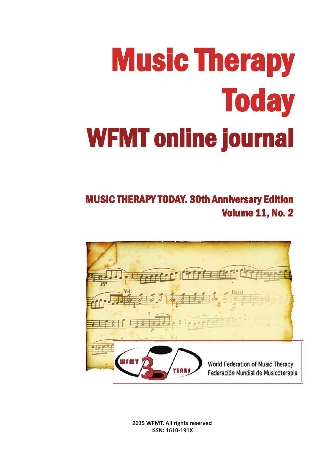Music Therapy Today Vol 11 No 2 Special Issue By World