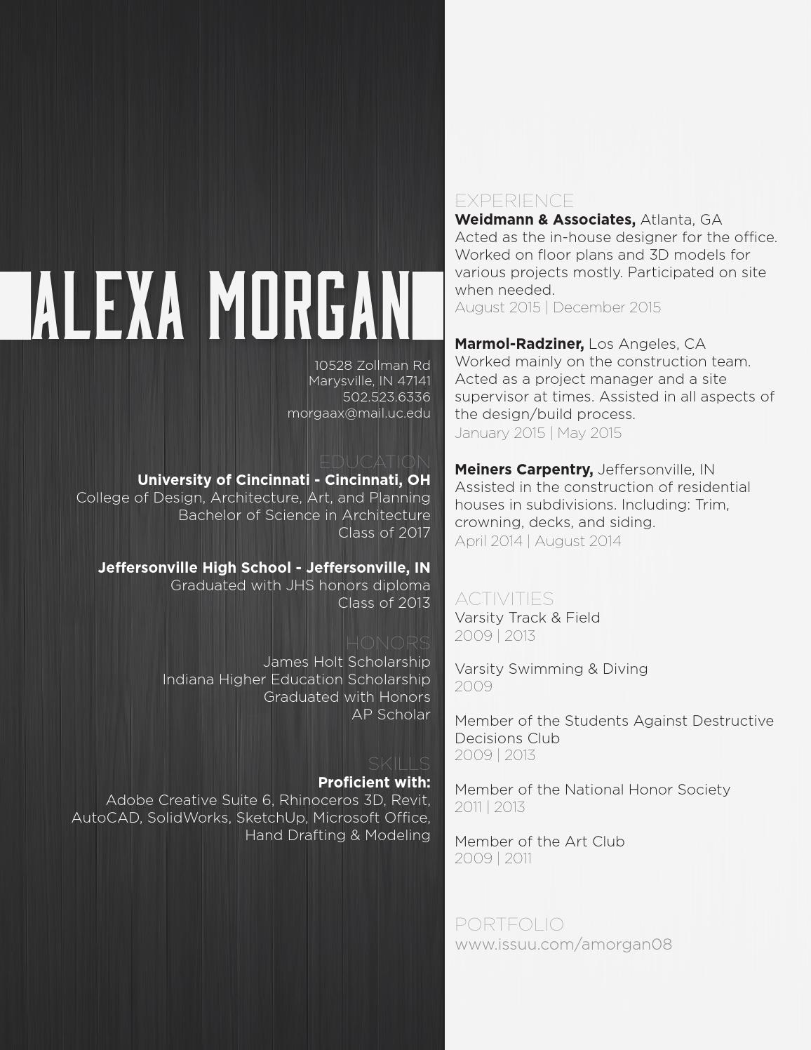 Alexa Morgan  Architecture Undergraduate Resume  by Alexa
