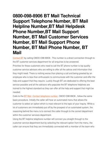 0800 098 8906 Bt Mail Technical Support Telephone Number Helpline Helpdesk Phone Customer