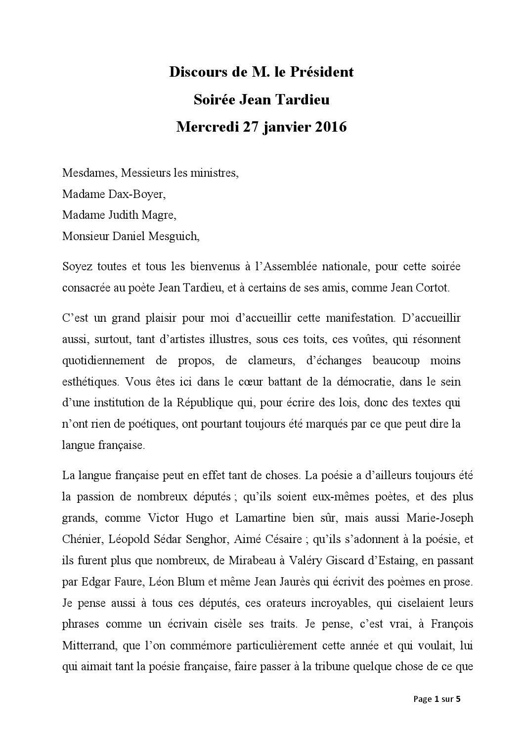 Discours Soirée Jean Tardieu By Claude Bartolone Issuu