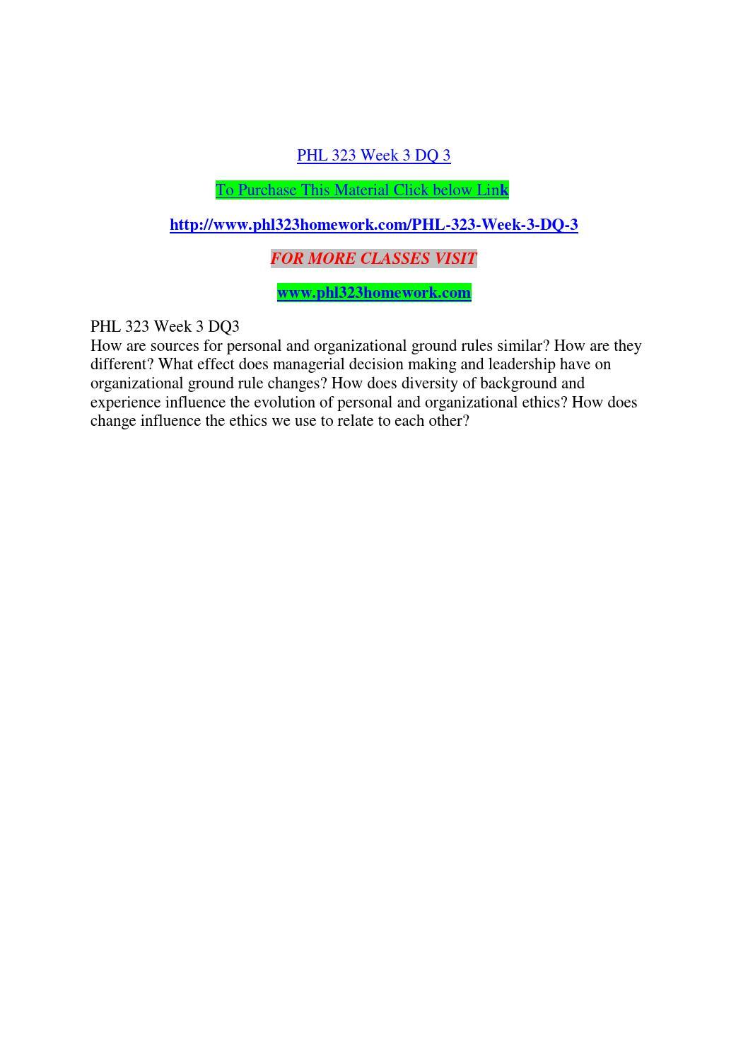 PHL 323 Personal Ethics Development
