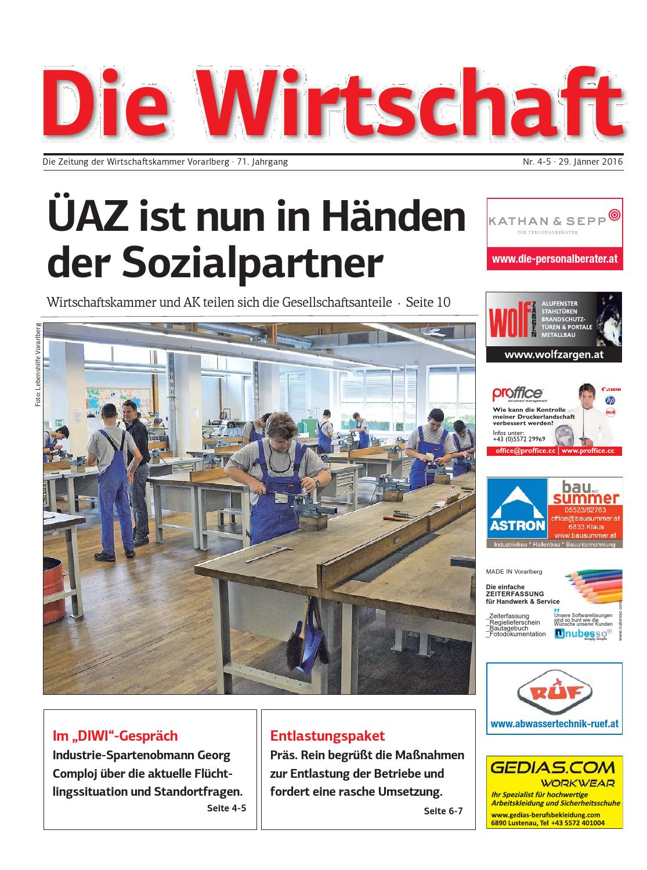 Die Wirtschaft - Nr. 4-5, 29. Jänner 2016 by Wirtschaftskammer Vorarlberg -  issuu