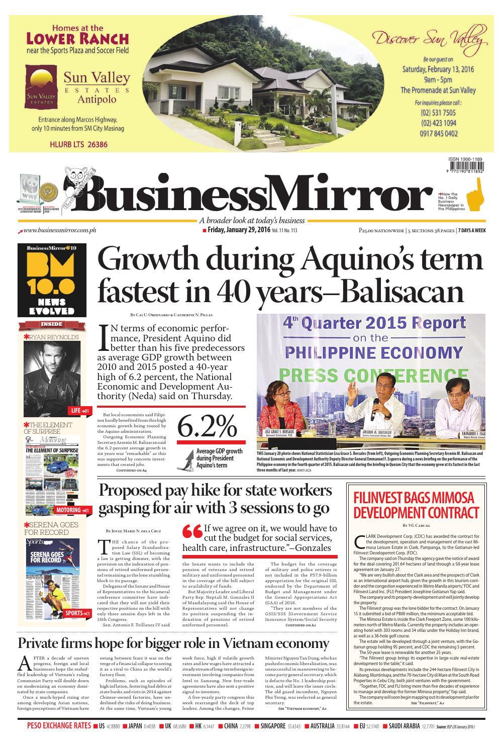 BusinessMirror January 29, 2016 by BusinessMirror - issuu