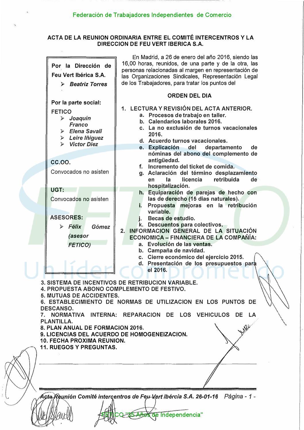 Actas y Nota Informativa Intercentros Feu Vert Enero 2016 by jose ...