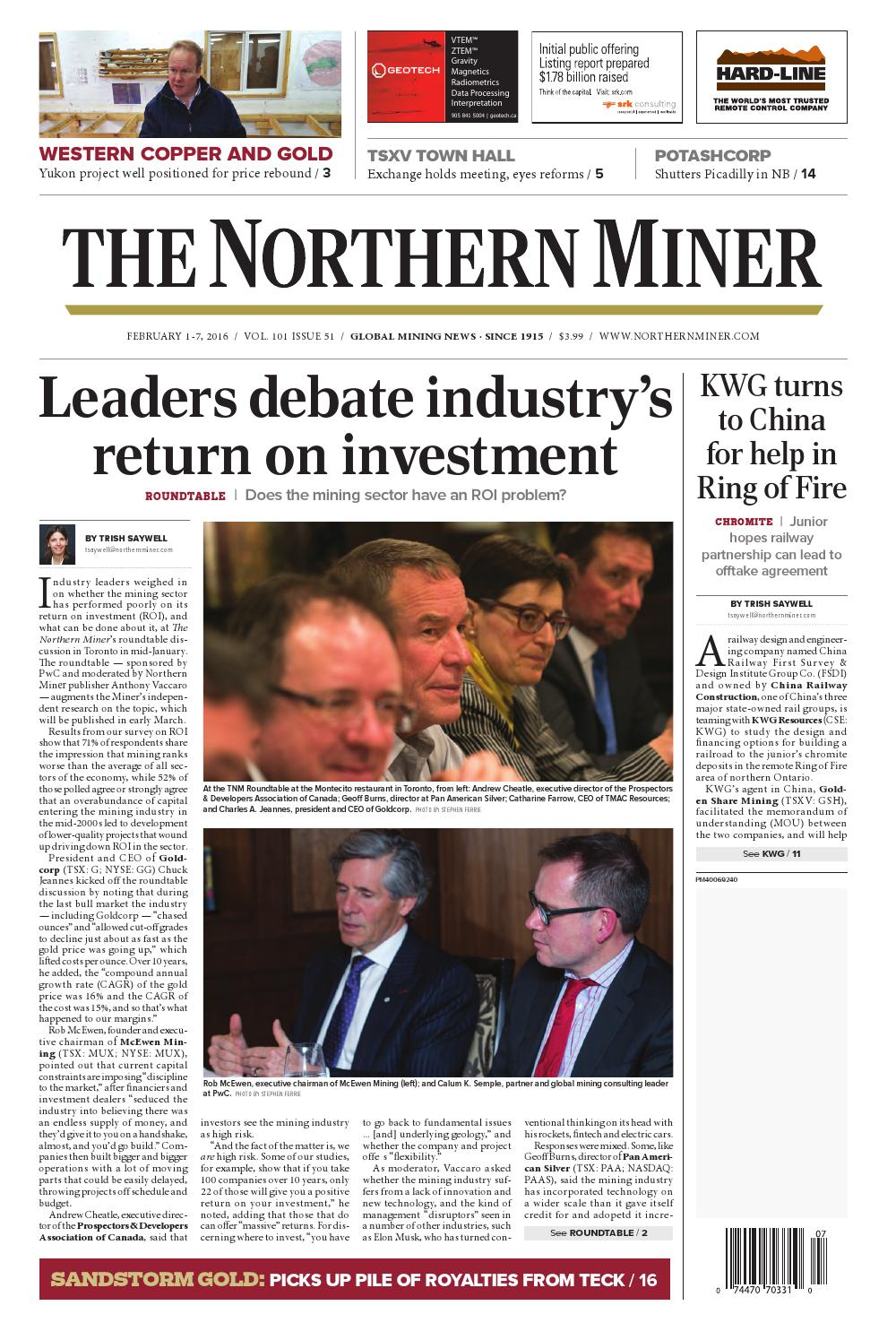 The Northern Miner February 1-7, 2016