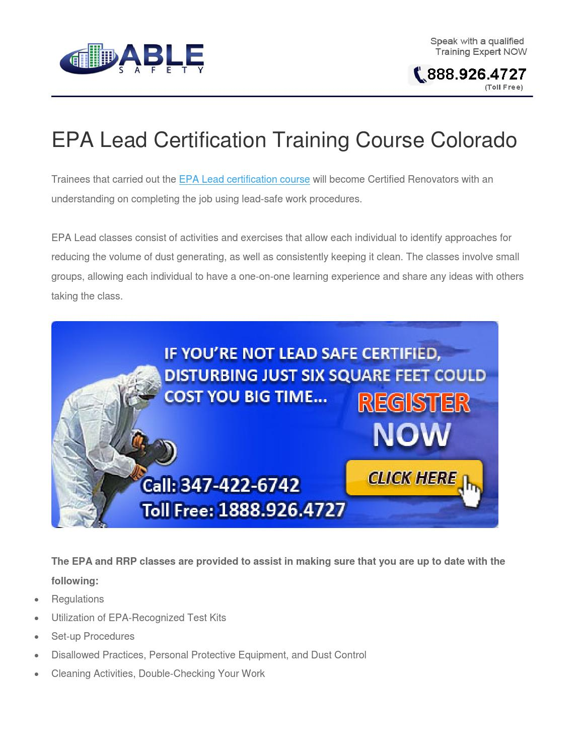 lead certification epa training