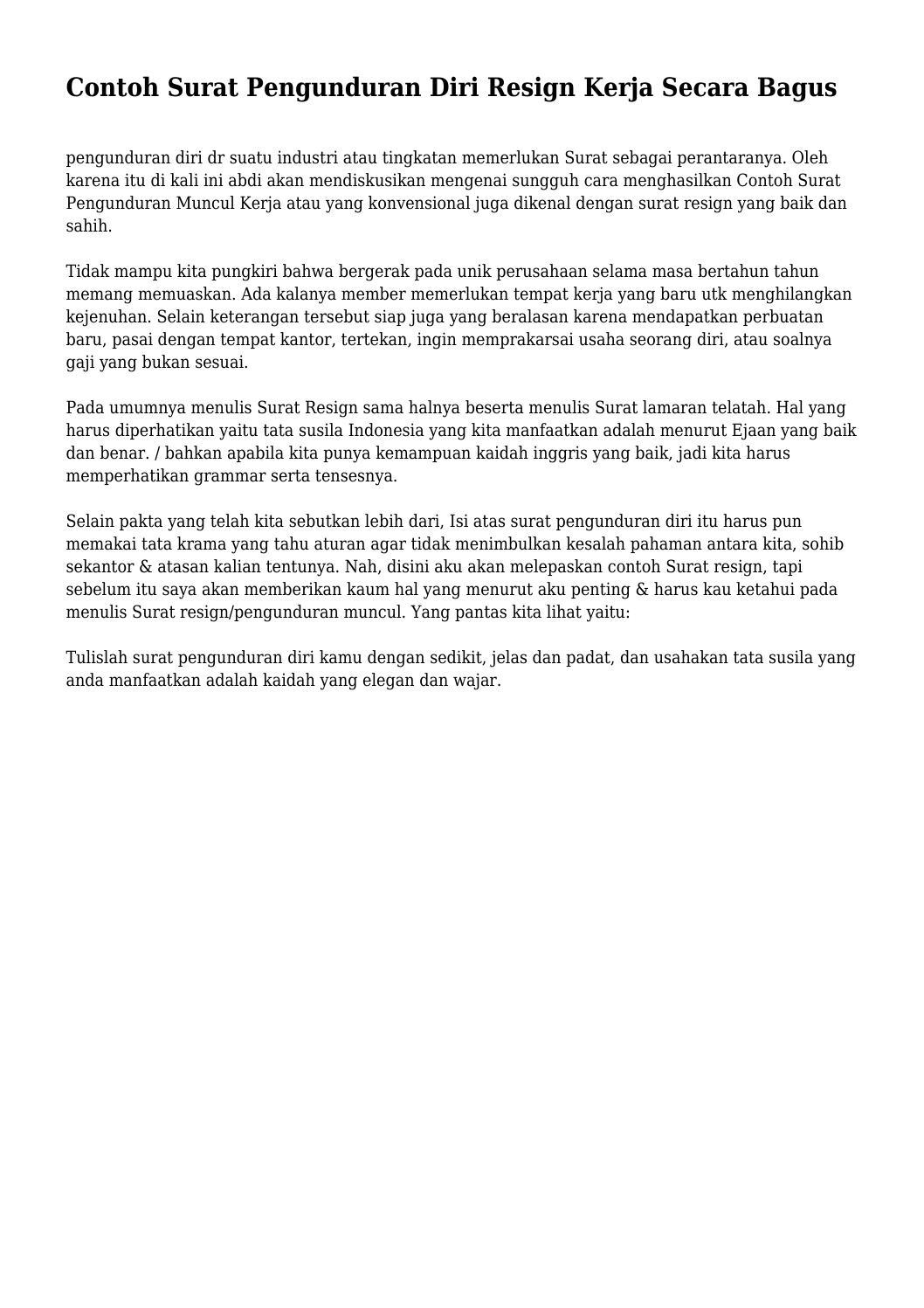Contoh Surat Pengunduran Diri Resign Kerja Secara Bagus By