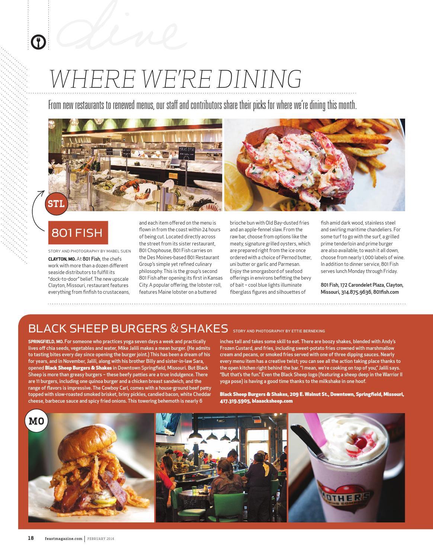 February 2016 feast magazine by feast magazine issuu for 801 fish clayton