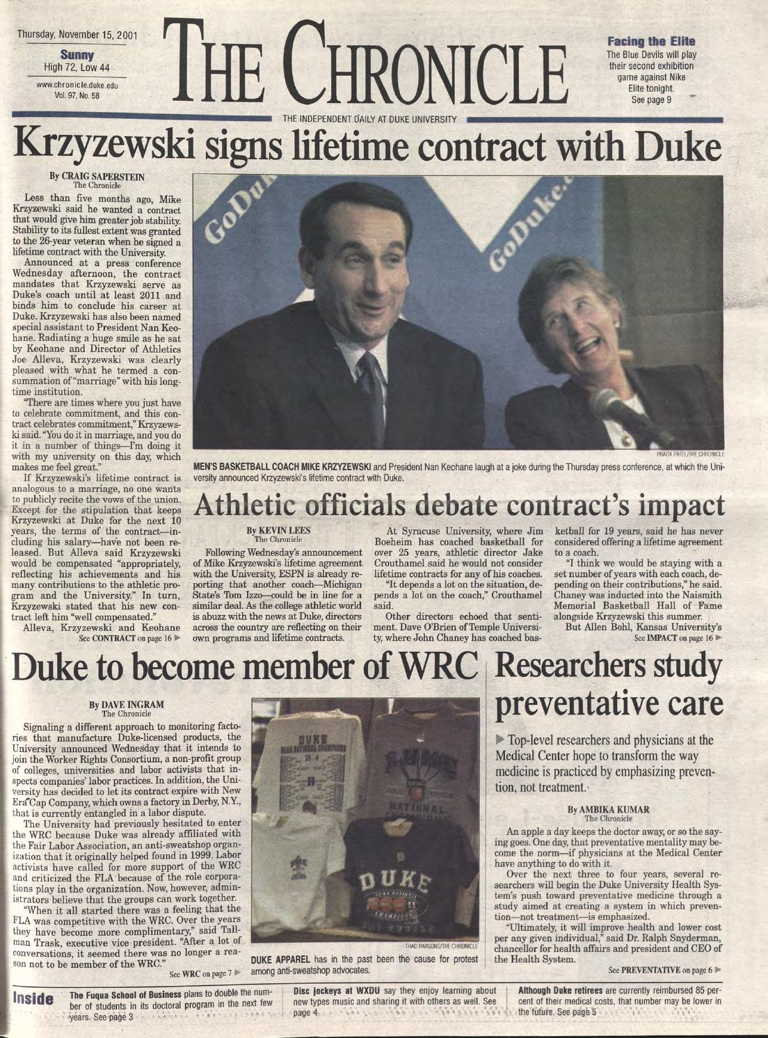 November 15, 2001 by Duke Chronicle Print Archives - issuu