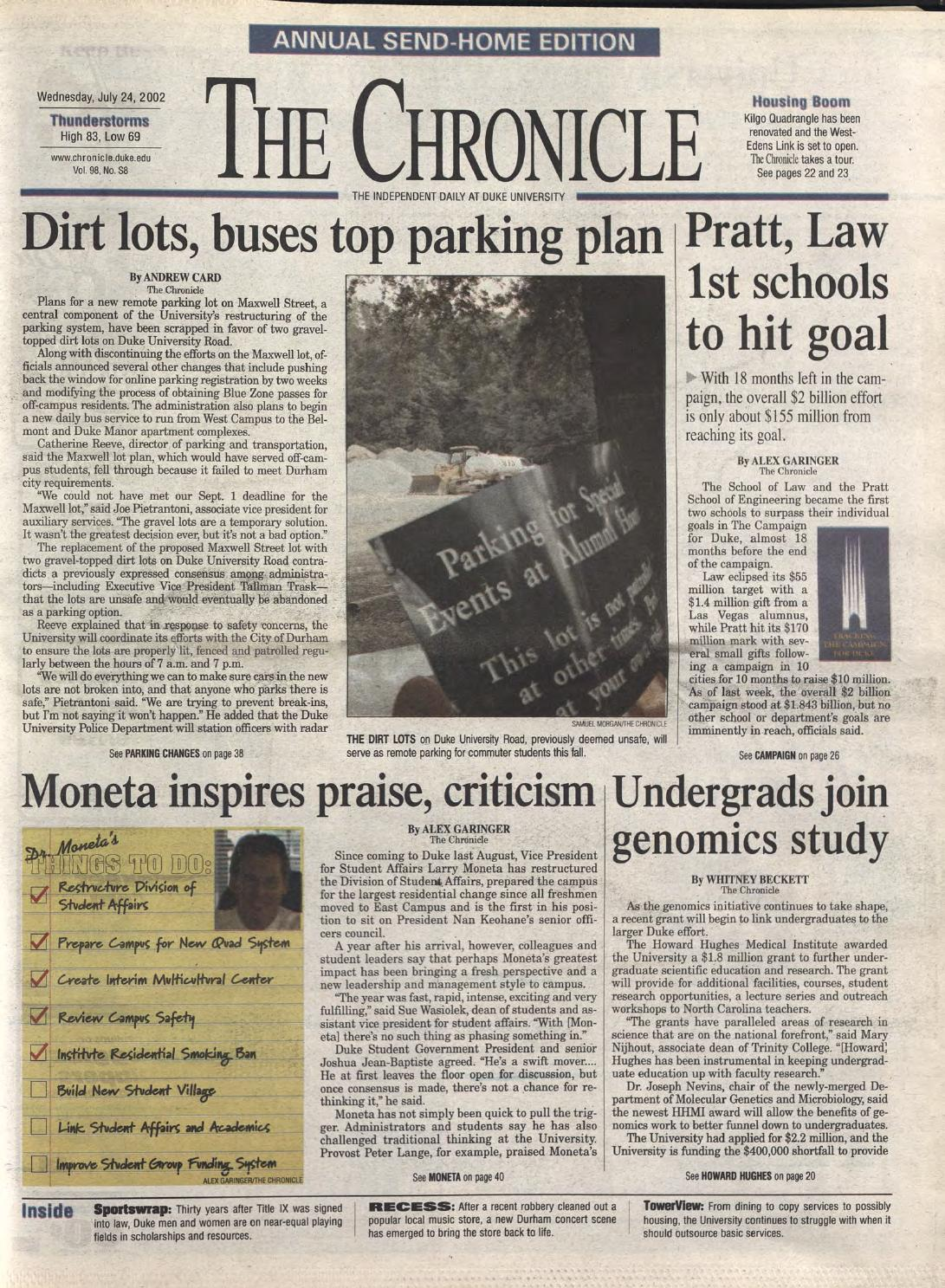 July 24 2002 By Duke Chronicle Print Archives