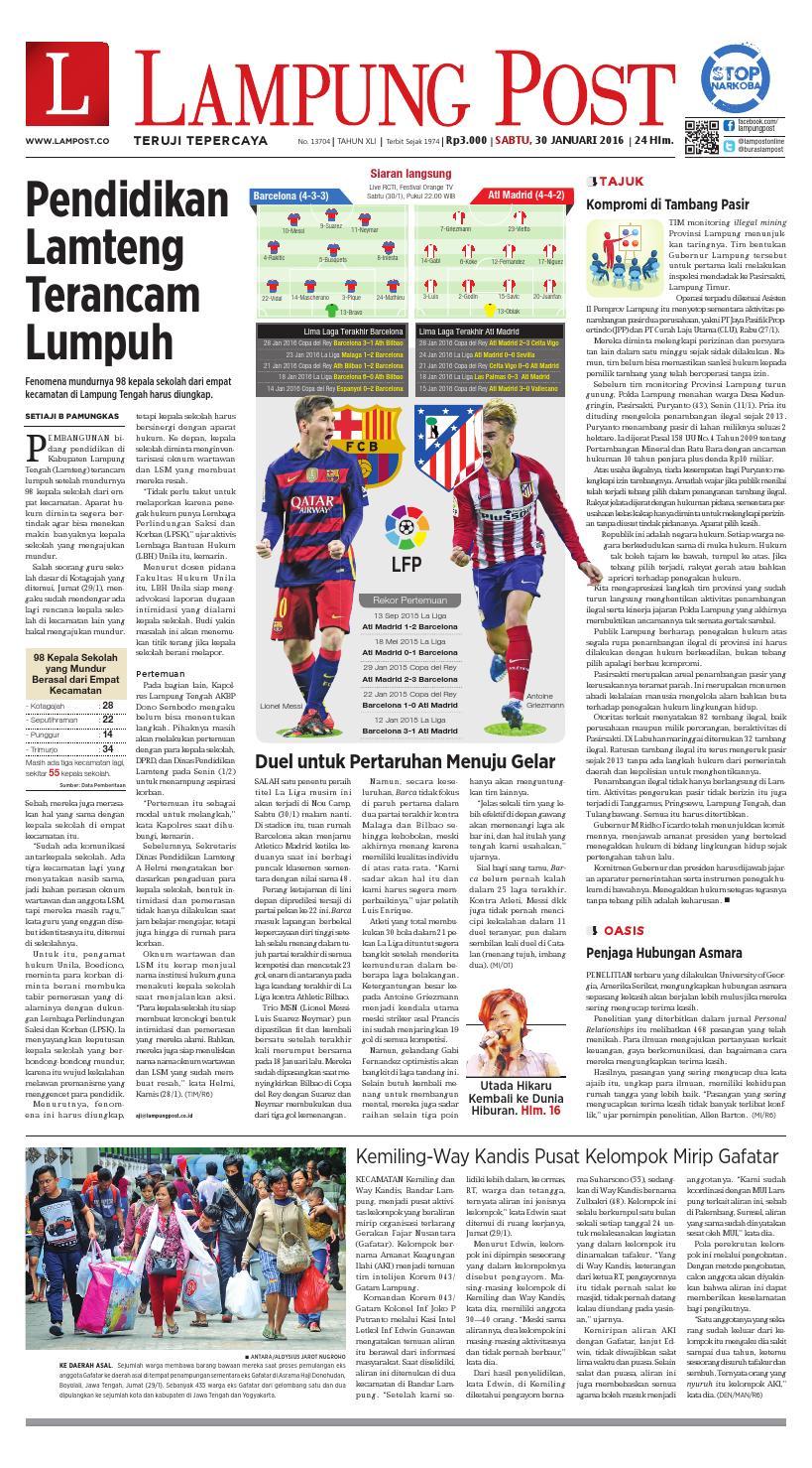Lampung Post Sabtu 30 Januari 2016 By Issuu Produk Ukm Bumn Tekiro Tang Kombinasi 7