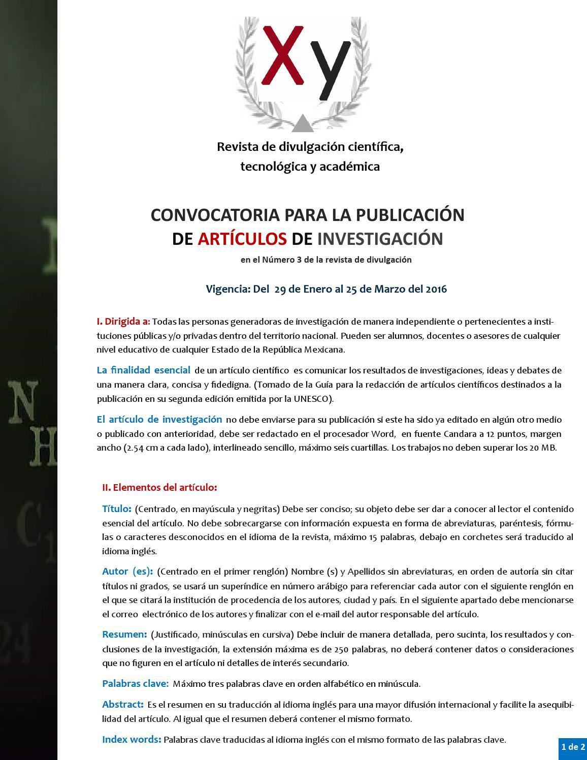 Convocatoria Xy Número3 by Fernando Santiago - issuu