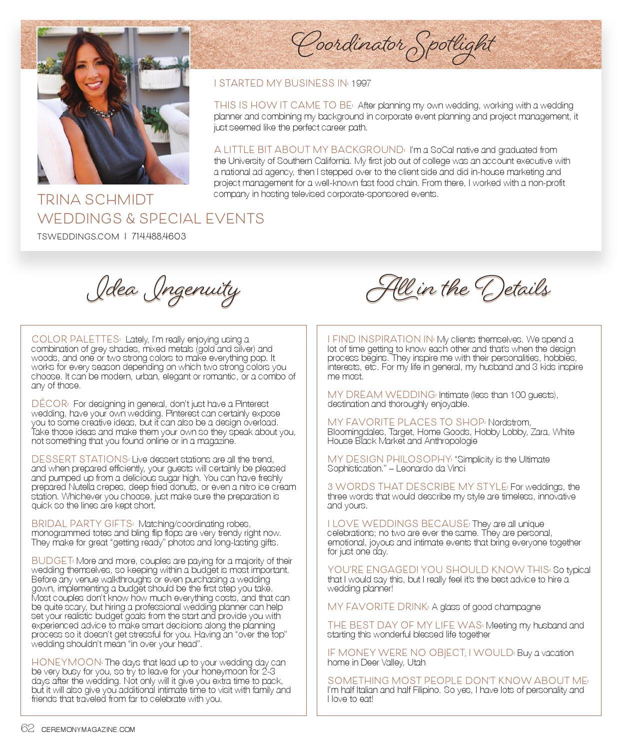 Ceremony Magazine 2016 Orange County by Ceremony Magazine
