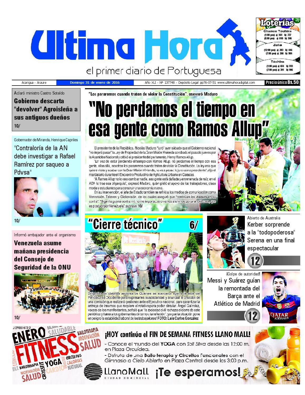 Edicion31 01 2016 by Ultima Hora - El primer diario de Portuguesa ...