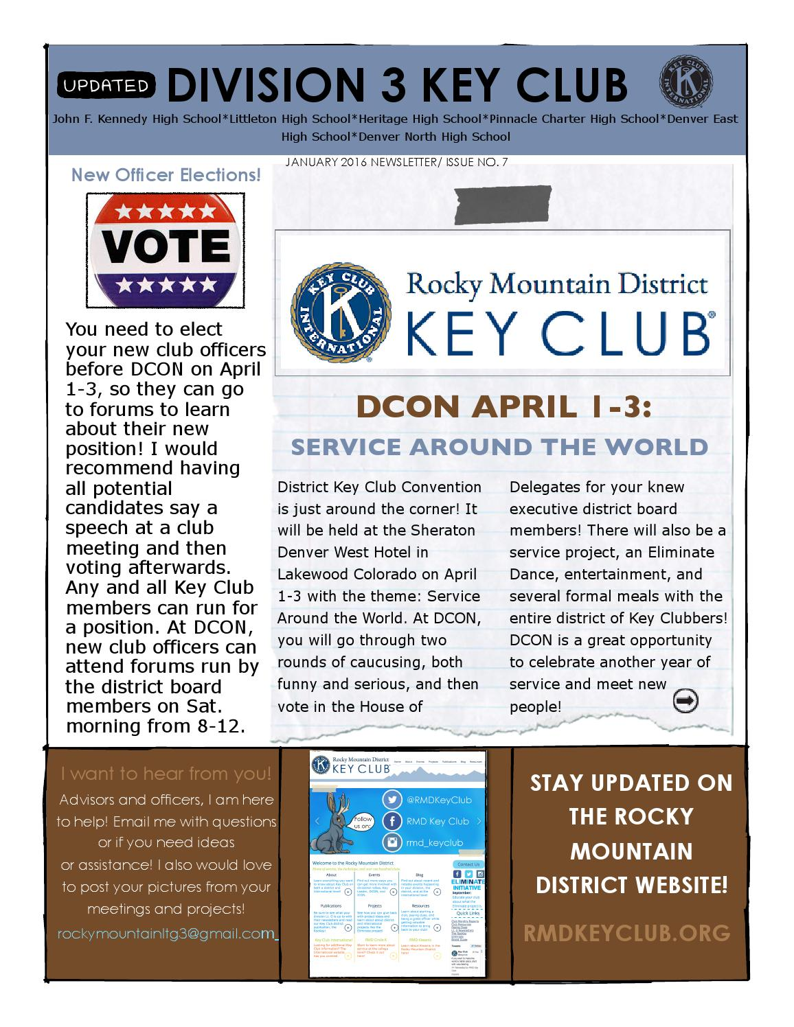 Jan 2016 Key Club Newsletter By RMD Key Club   Issuu  Example Of A News Letter