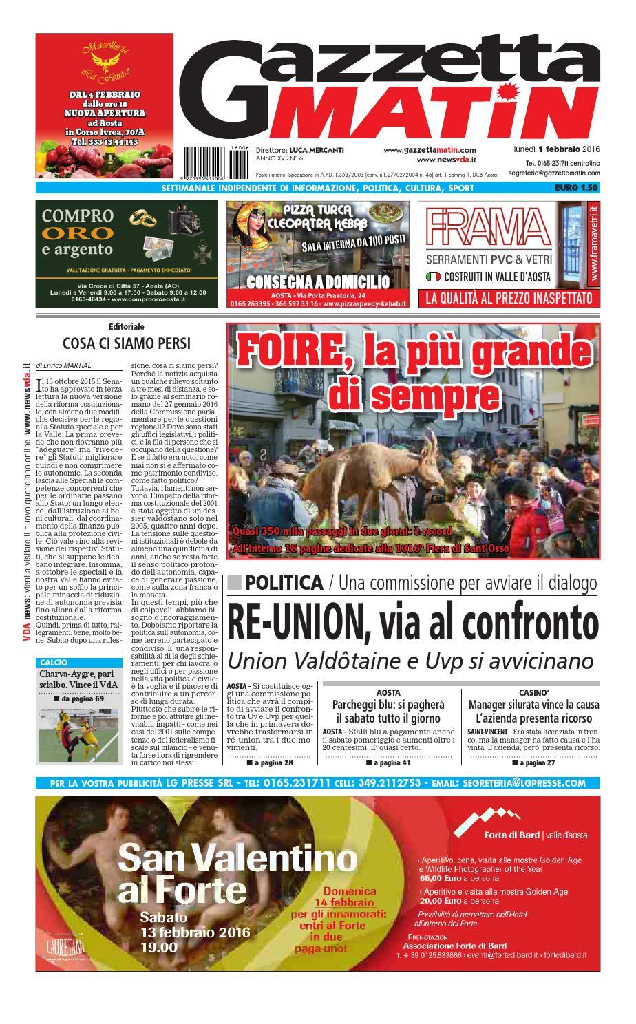 Gazzetta Matin dell'1 febbraio 2016 by NewsVDA issuu