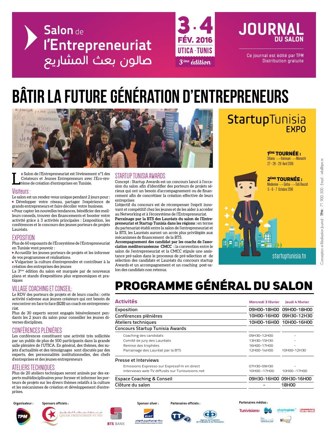 Journal du salon de l 39 etrepreneuriat 2016 by tunisie place for Salon 9 places tunisie