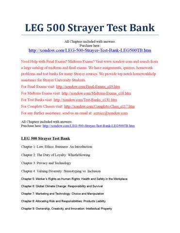 Leg 500 Strayer Test Bank Strayer University New By Xondow
