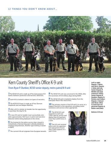 Kern County Sheriffs Office K9 Unit — VACA