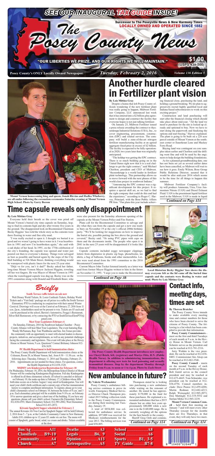 february 2 2016 the posey county news by the posey county news