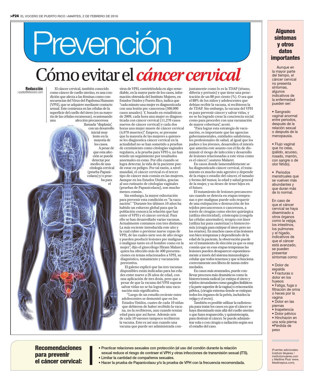 dolor pélvico y cáncer cervical