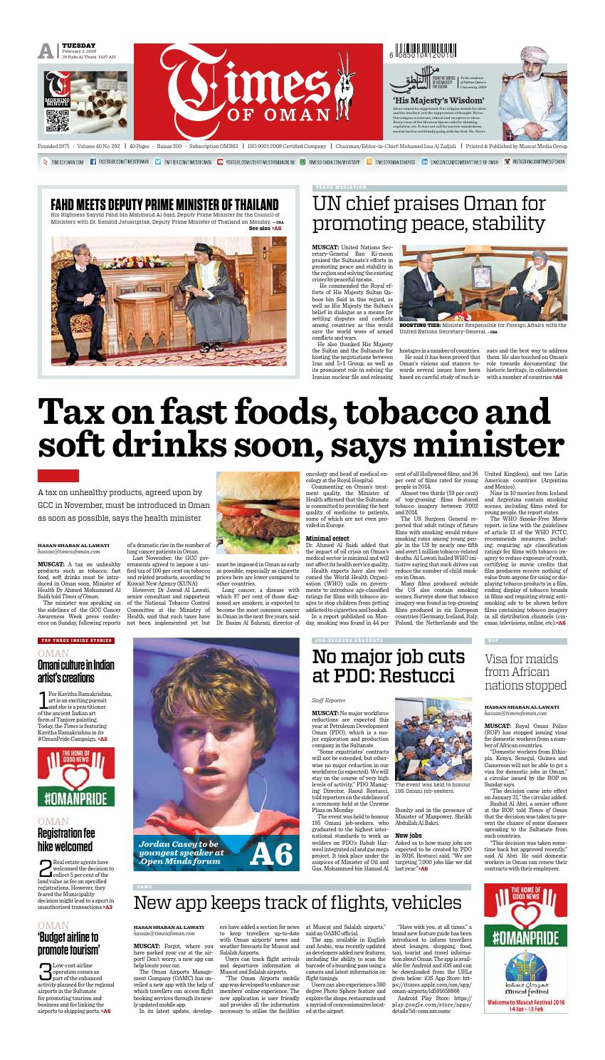 Times of Oman - February 2, 2016 by Muscat Media Group - issuu