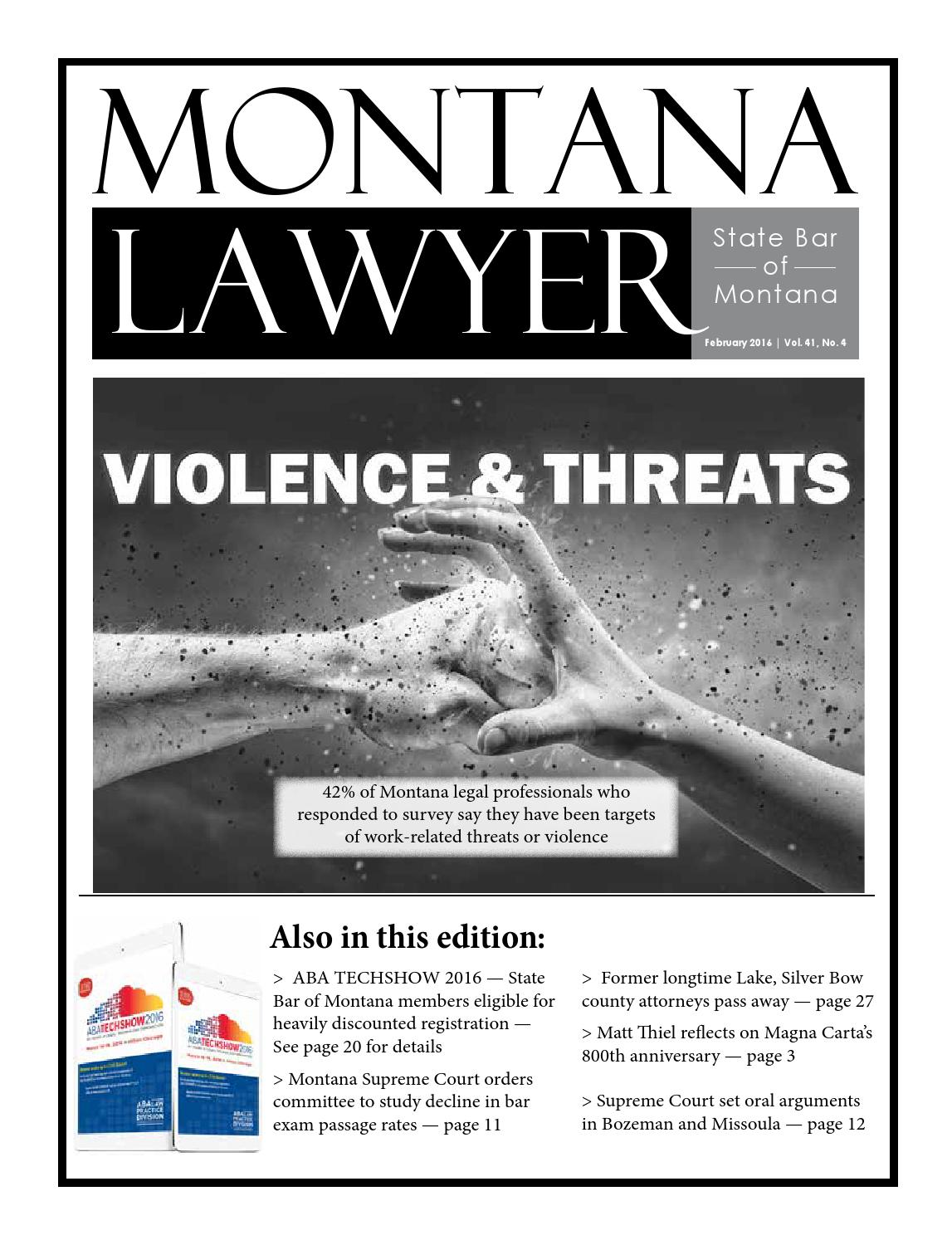 Montana Lawyer February 2016 by State Bar of Montana - issuu