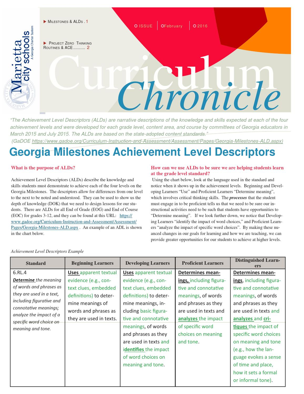 Curriculum Chronicle for Parents - January/February 2016 by Marietta