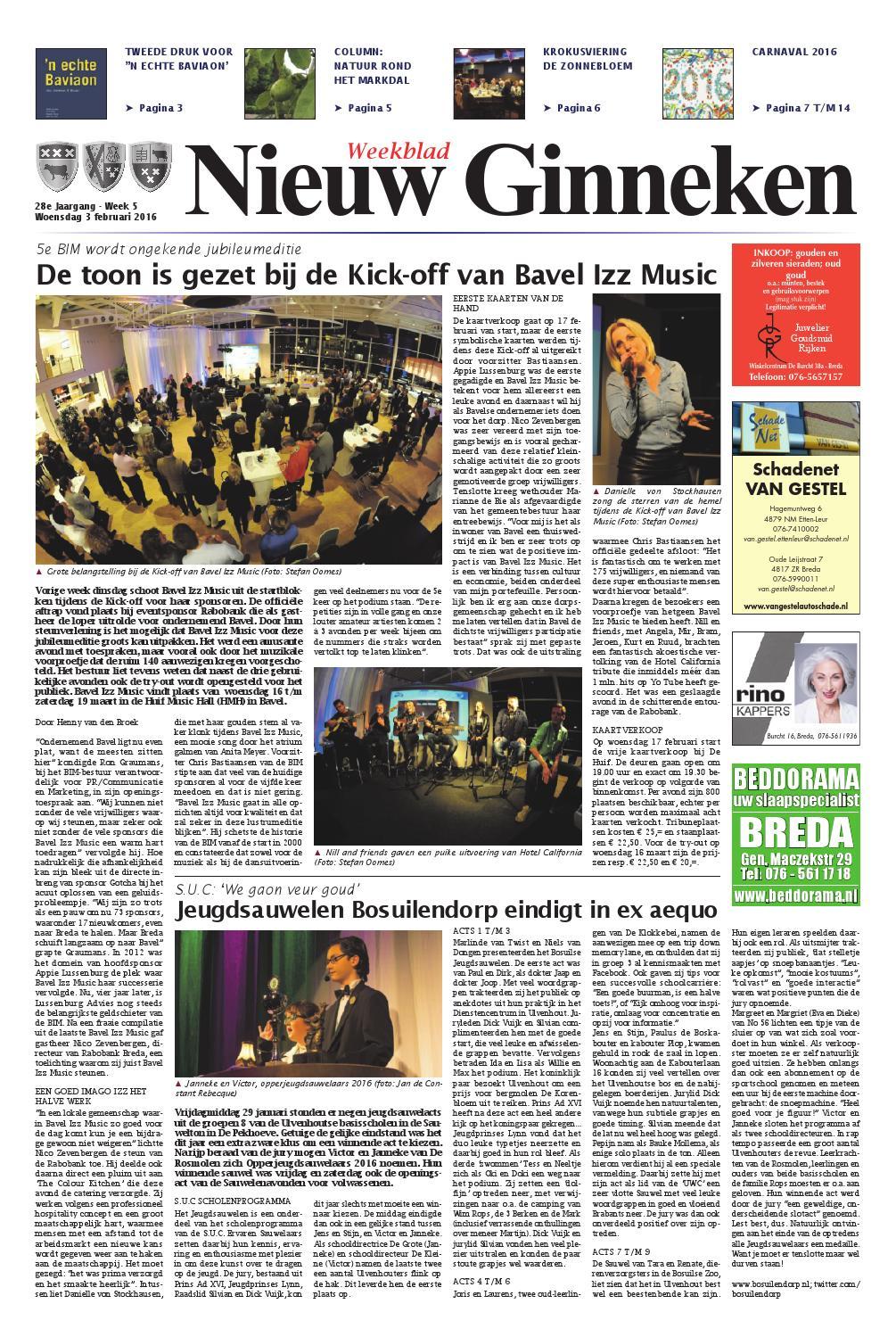 Weekblad Nieuw Ginneken 03 02 2016 By Uitgeverij Em De Jong Issuu