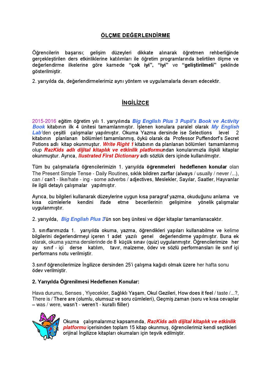 3 Siniflar 2015 2016 Egitim Ogretim Yili 1 Yariyil Sonu Akademik