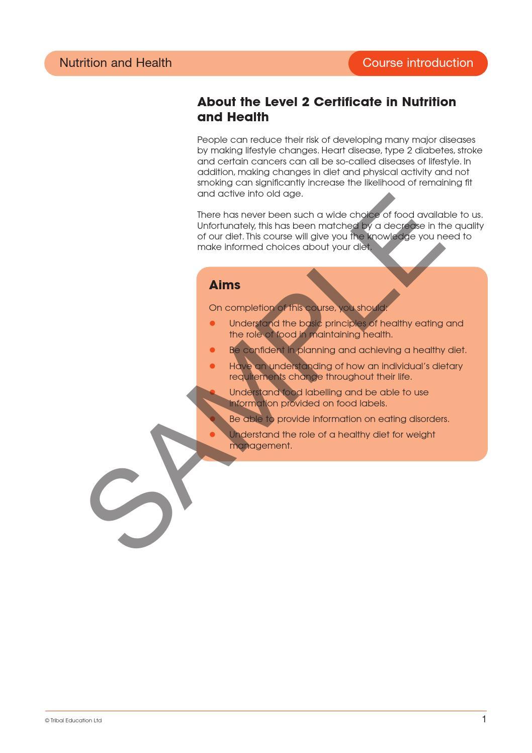 Level 2 Certificate In Understanding Nutrition Health By David