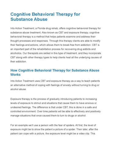 Cognitive Behavioral Therapy For Substance Abuse By Andrey Rossin