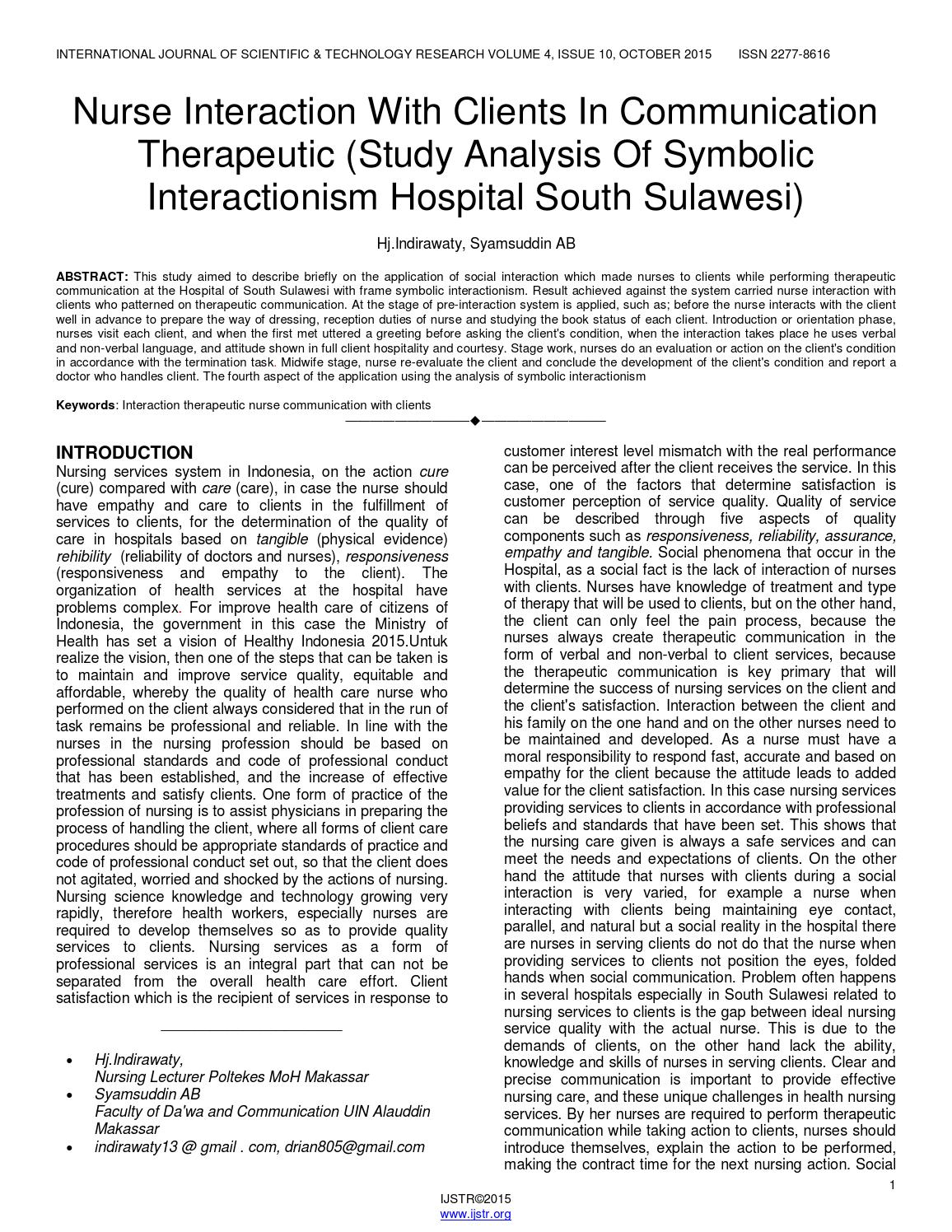 Nurse interaction with clients in communication therapeutic study nurse interaction with clients in communication therapeutic study analysis of symbolic interactionis by ijstr research publications issuu buycottarizona