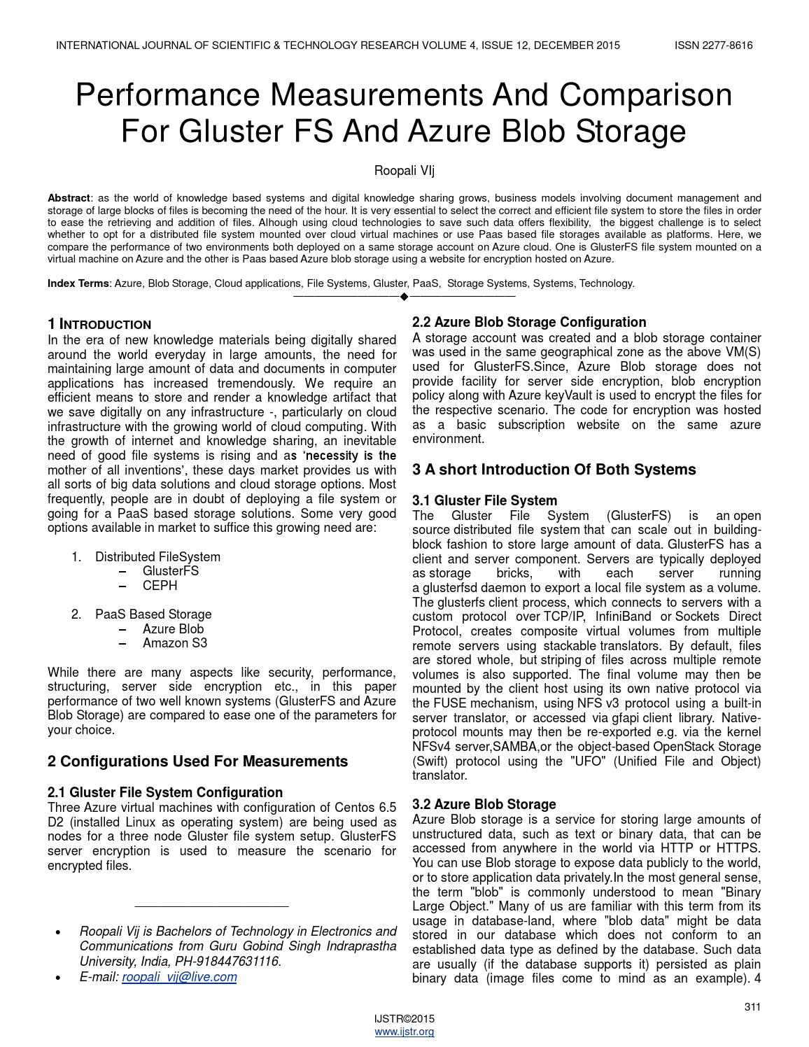 Performance measurements and comparison for gluster fs and