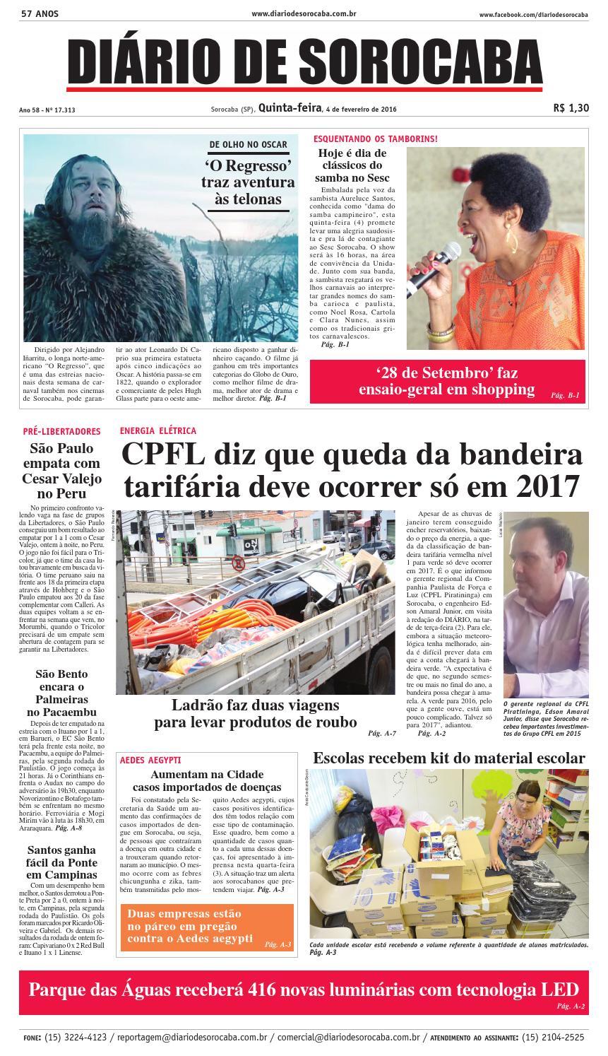 1902b01ce4 Edição de 04 de fevereiro de 2016 by DIÁRIO DE SOROCABA - issuu