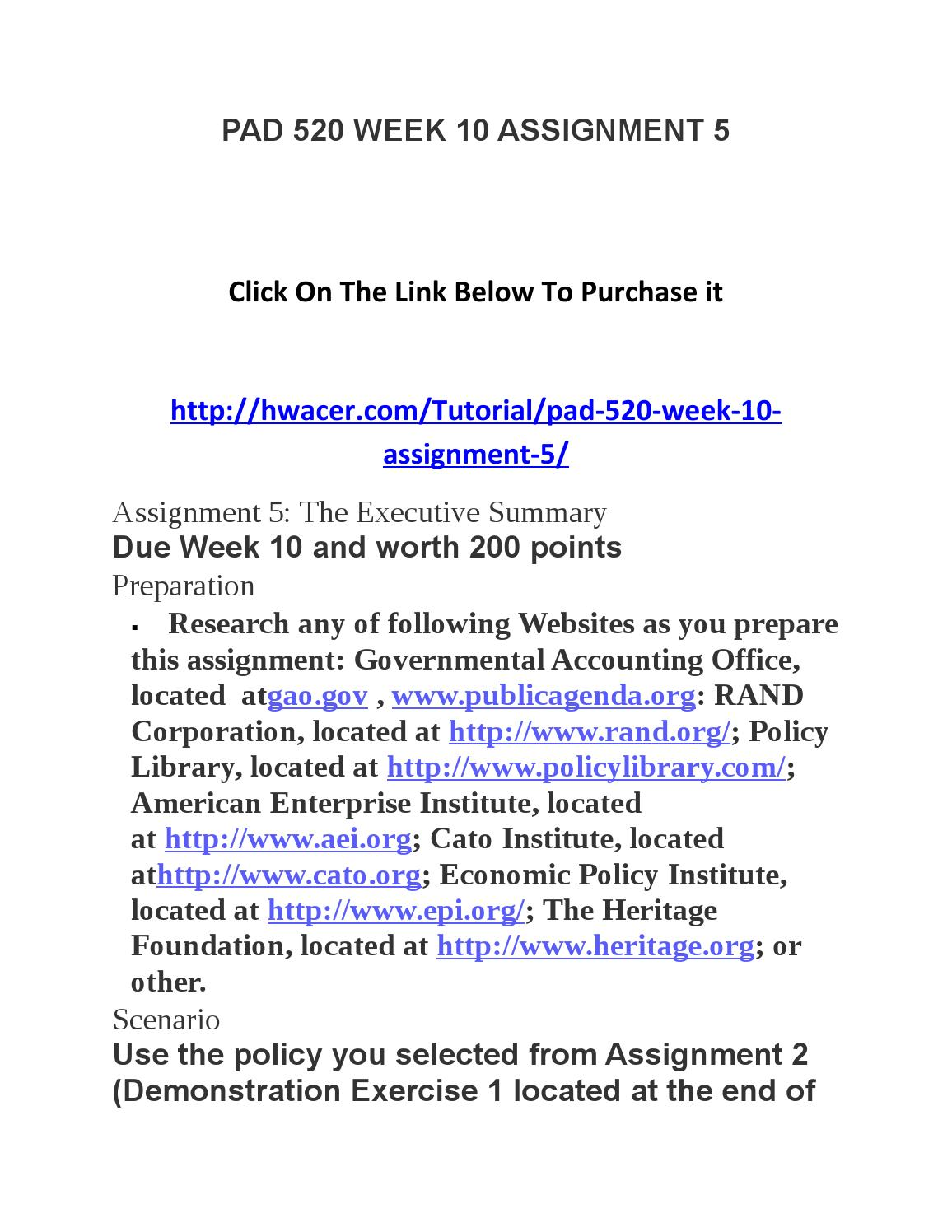 week 6 written assignment executive summary Executive summary for this assignment, you will write a 150–200-word executive summary of your policy brief similar to an abstract written for academic research papers, the executive summary concisely states the purpose of the brief and your recommended policy solution.