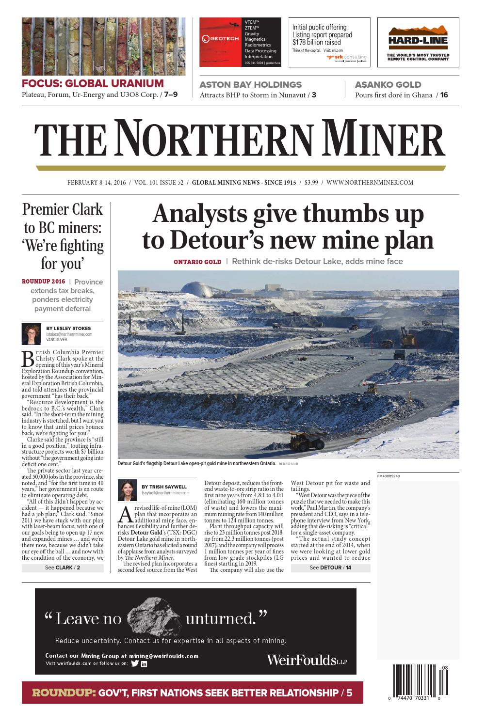 The Northern Miner February 8-February 14, 2016 Issue by The