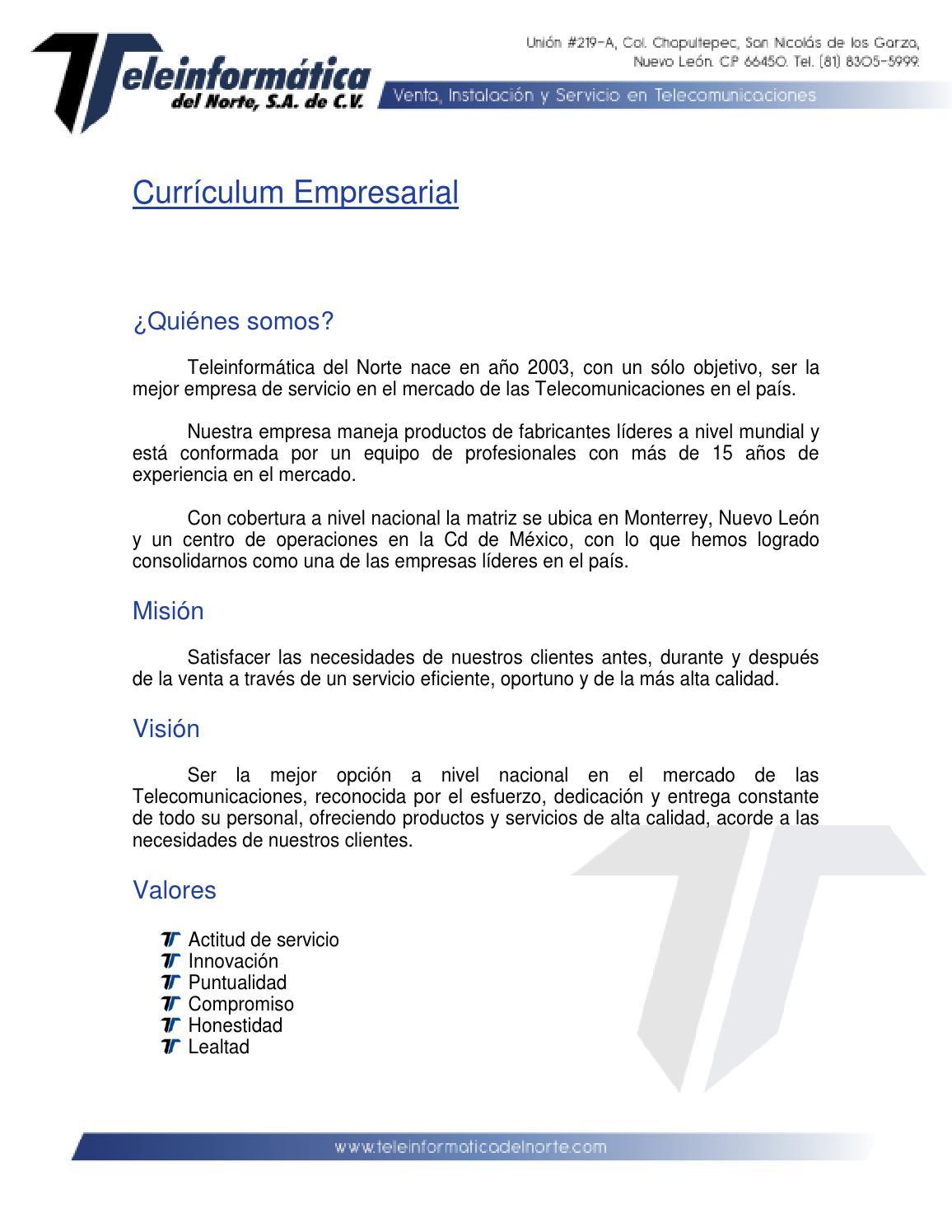 curriculum empresarial by teleinformatica del norte