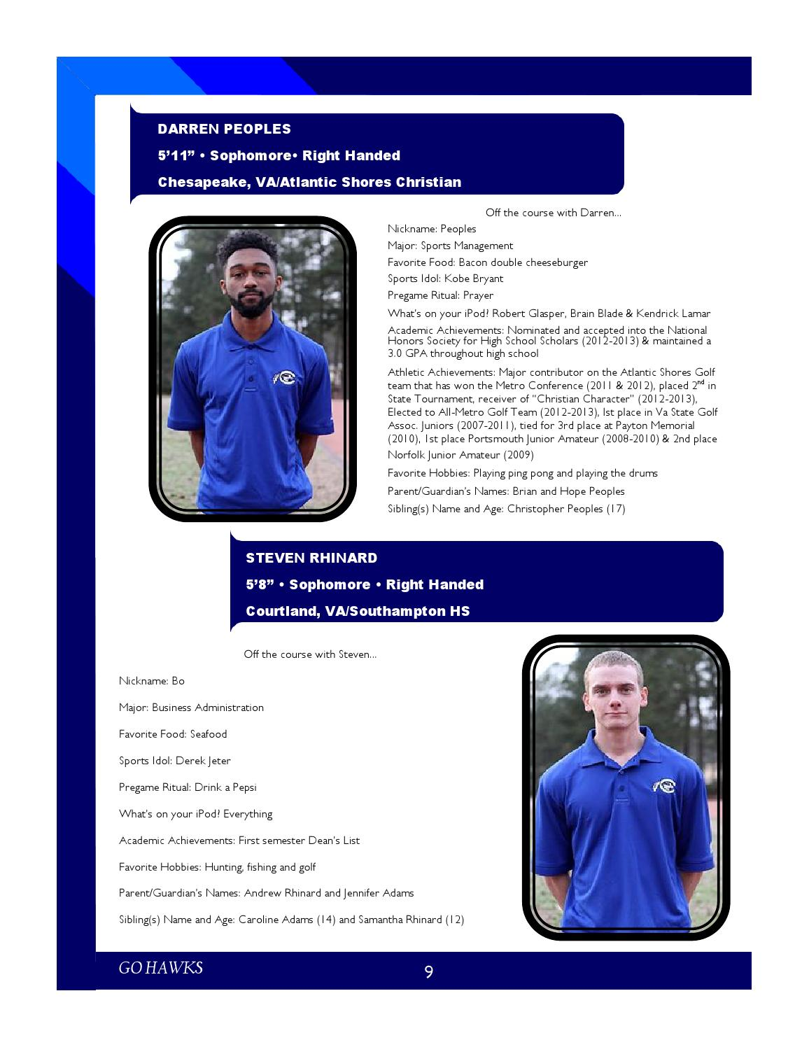 2015-2016 Chowan Men's Golf Media Guide by Meredith Long - issuu