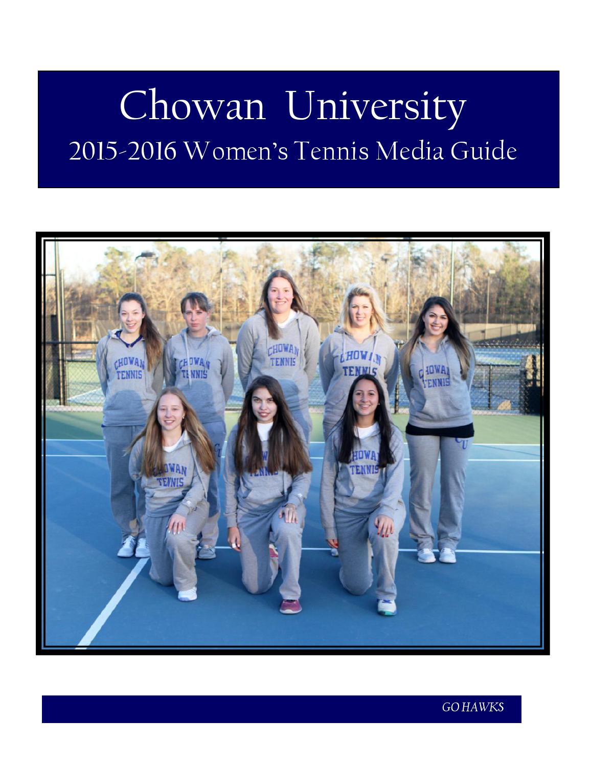 2015-2016 Chowan Women's Tennis Media Guide by Meredith ...
