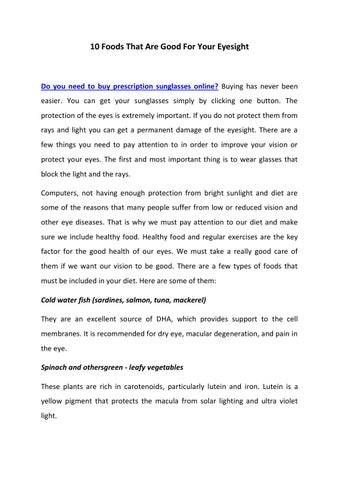 0fd55d0127 10 foods that are good for your eyesight by John Stoves - issuu