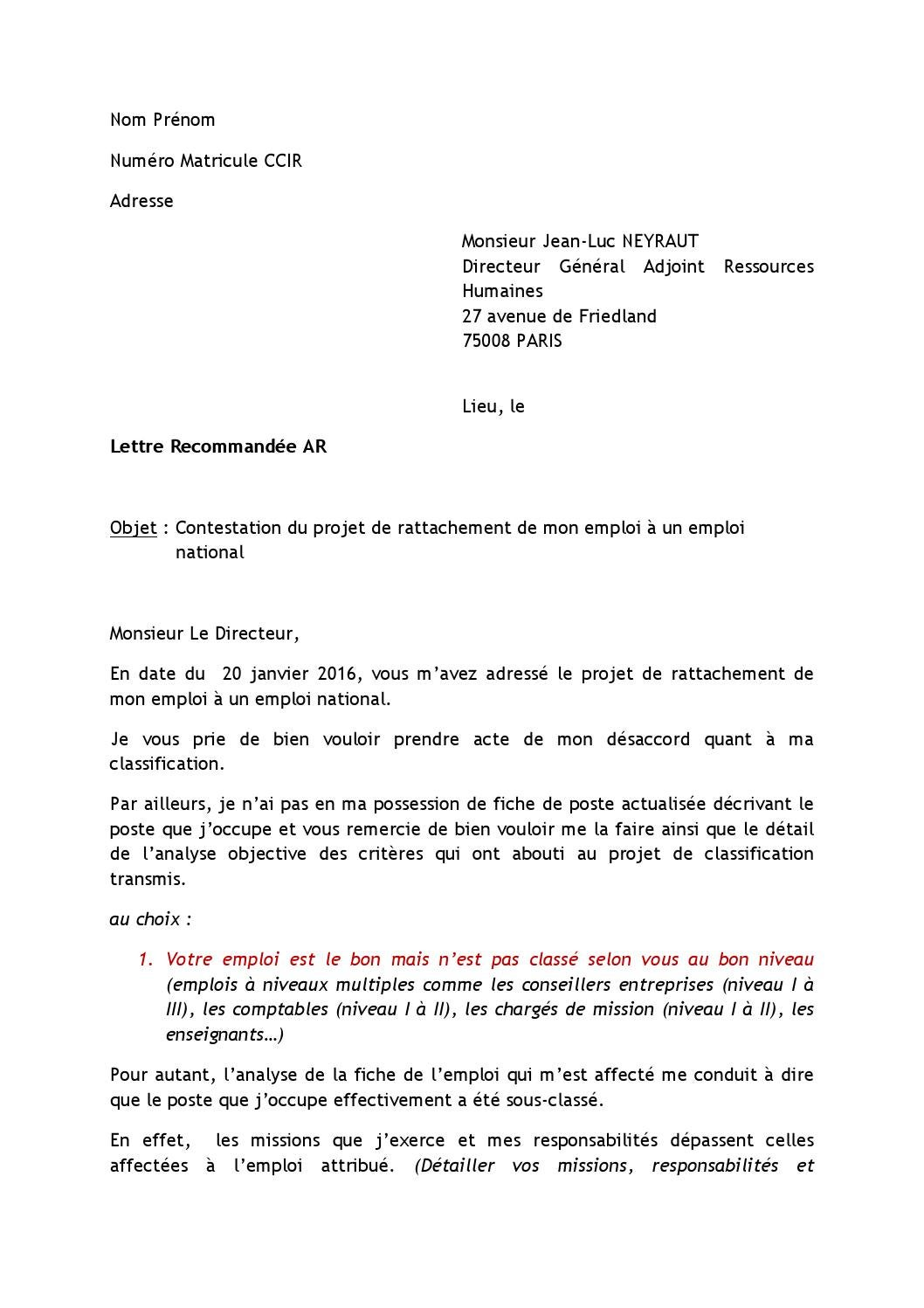 example de lettre