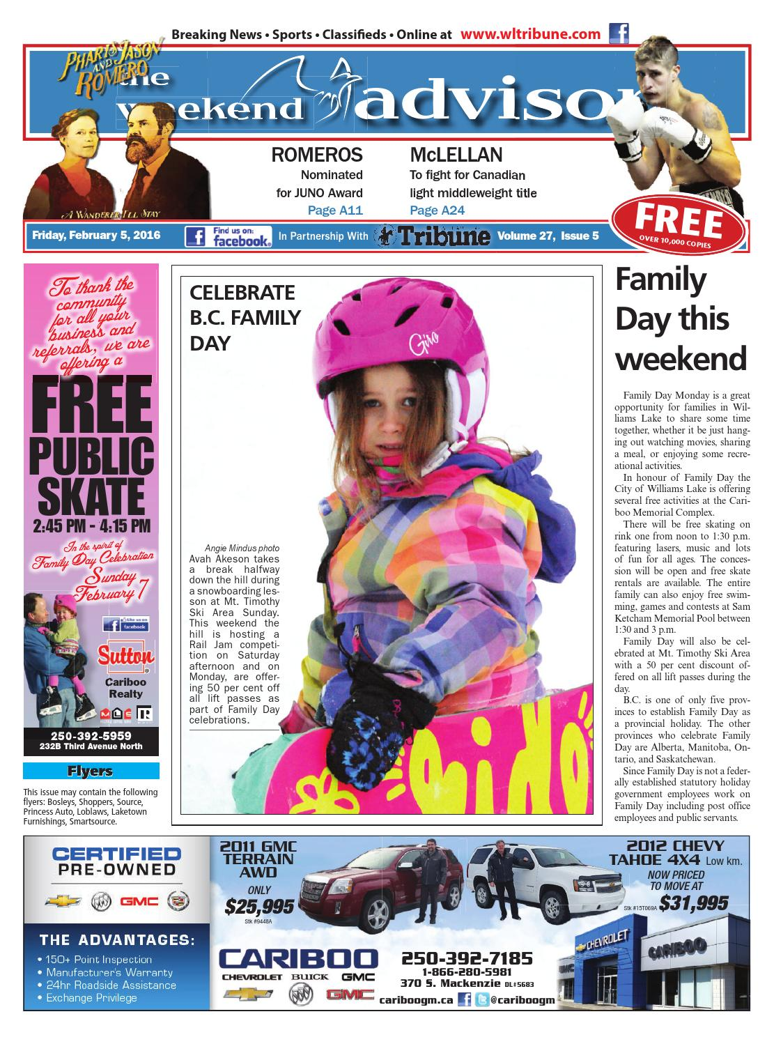 Wondrous Williams Lake Tribune February 05 2016 By Black Press Gmtry Best Dining Table And Chair Ideas Images Gmtryco